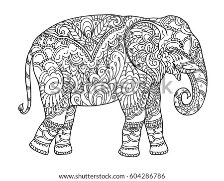 Drawing Zentangle Elephant For Coloring Book Adult Or Other Decorations Black And White