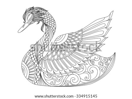 Drawing Zentangle Swan For Coloring Page Shirt Design Effect Logo Tattoo And Decoration