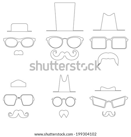 Drawings glasses mustache and hats. Vector - stock vector
