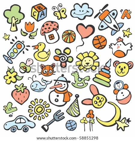 drawings in the children's style - stock vector
