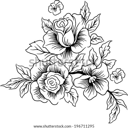 Drawings lines of beautiful flowers