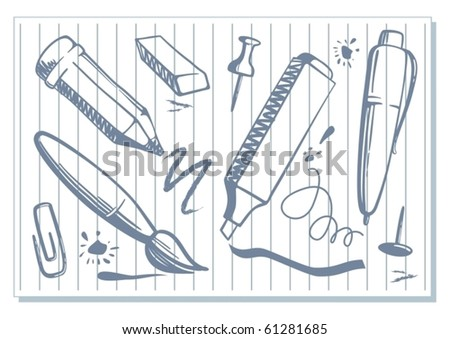 Drawings of stationery - stock vector