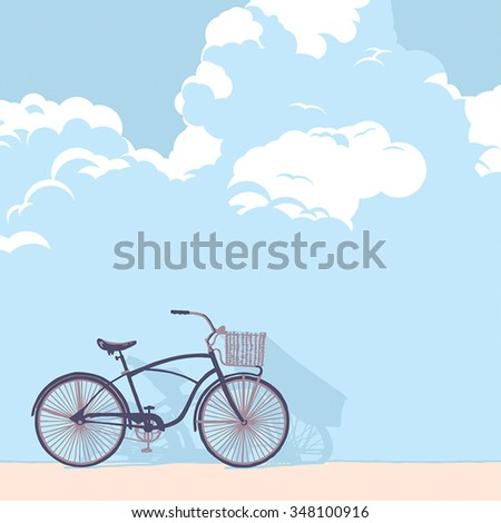 Drawn bicycle on the background wall of clouds - stock vector