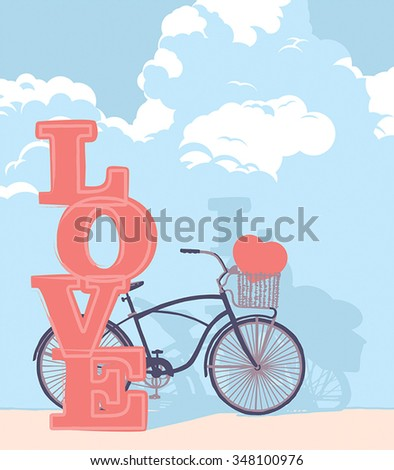Drawn bicycle with clouds and the word love - stock vector