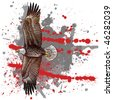 drawn by hand with a woodcut or engraving look, an eagle with splash and grunge background - stock photo