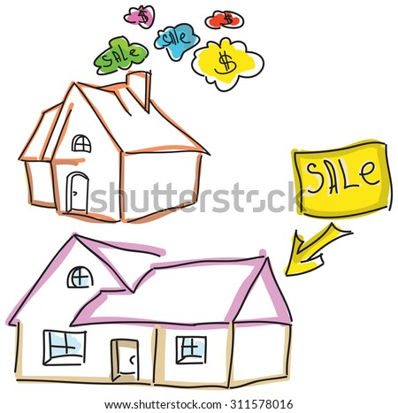 Drawn colored houses for sale with dollar sign. Vector illustration