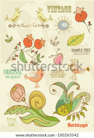 Drawn floral ornaments with flowers and birds | Love elements | Engraving tree and flowers for spring and summer design | Vintage Labels - stock vector