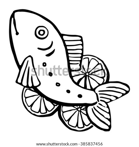 Drawn fresh fish, vector illustration black and white graphic, isolated on white - stock vector