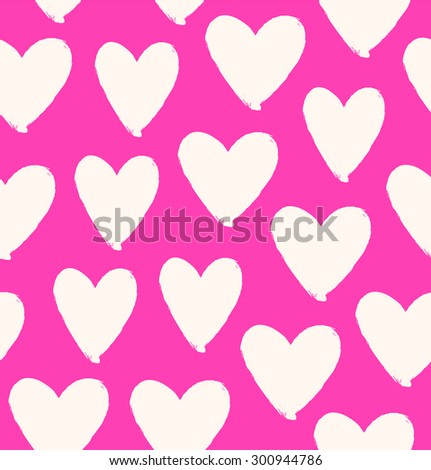 Drawn heart silhouettes on rose background. Symbol of love in grunge style. Pink seamless pattern - stock vector