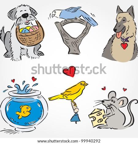 Drawn Pets Set - stock vector