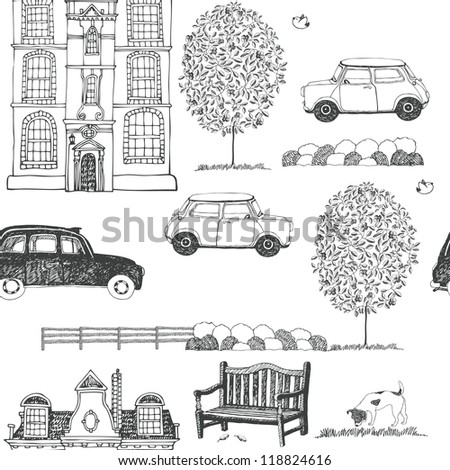 Drawn sketch of a city street background - stock vector