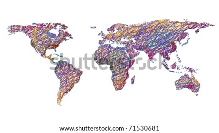 drawn world map isolated on white background - stock vector