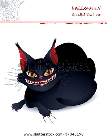 Dreadful black cat - stock vector
