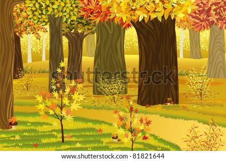 Dream autumn forest - stock vector