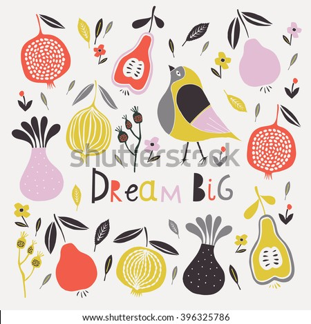 Dream Big. Print Design - stock vector
