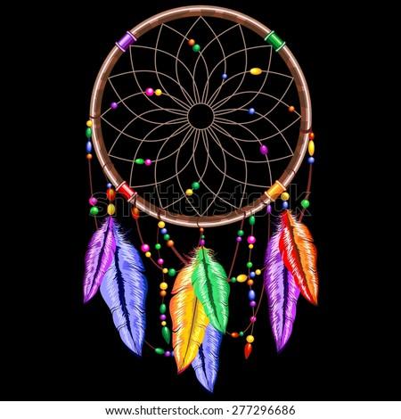 Dream catcher Rainbow Feathers - stock vector