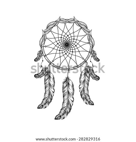 Dream catcher with feathers and leafs  in line art style, high detailed ritual thing. American boho spirit. Hand drawn sketch vector illustration for tattoos or t-shirt print. - stock vector