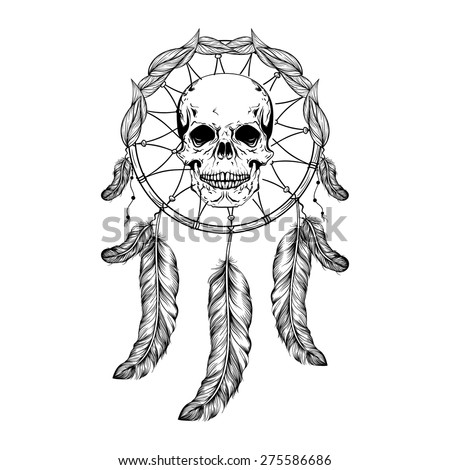 Dream catcher with feathers and leafs, skull in center maden in line art style, high detailed ritual thing. American boho spirit. Hand drawn sketch vector illustration for tattoos or t-shirt print. - stock vector