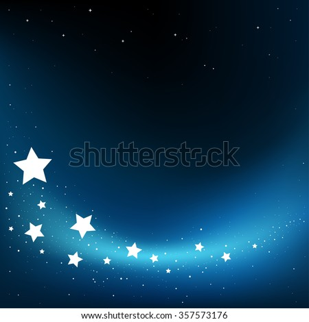 Dream fly stars blue dark background and copyspace for message - stock vector