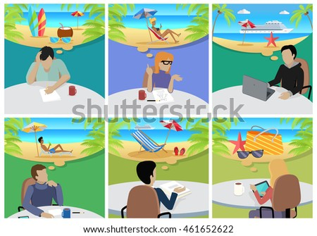Dream Holiday Woman And Man Sitting On Chair With Gadget Dreaming About Rest