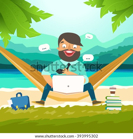 Dream work, The best work, Work with pleasure. Young man sitting in hammock on the beach and working with laptop. Working outdoor, outsource concept. Vector colorful illustration in material design - stock vector