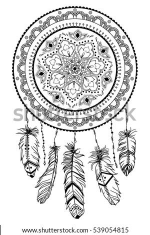 Dreamcatcher Arrow Feathers Native American Indian Stock Country Sayings Coloring Pages