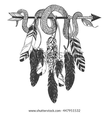Dreamcatcher with arrow, feathers and snake. Native American Indian talisman. Vector hand drawn hipster illustration isolated on white background. Boho design, tattoo art, coloring book for adults. - stock vector