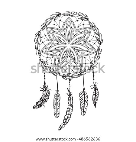 Dreamcatcher with detailed feathers. Sketch  tattoo. Boho style. Native ethnic symbol. Hand drawn magic symbol. Black and white, suitable for coloring book. Bohemian sign. Mandala dreamcatcher