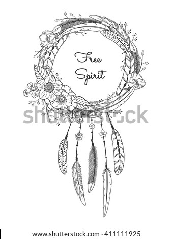 Dreamcatcher With Feathers And Flowers Boho Style Hand Drawn Magic Symbol Black