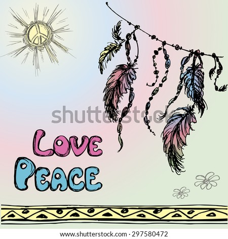 Dreamcatchers  and the words - love, peace. Hand drawing. Vector illustration - stock vector