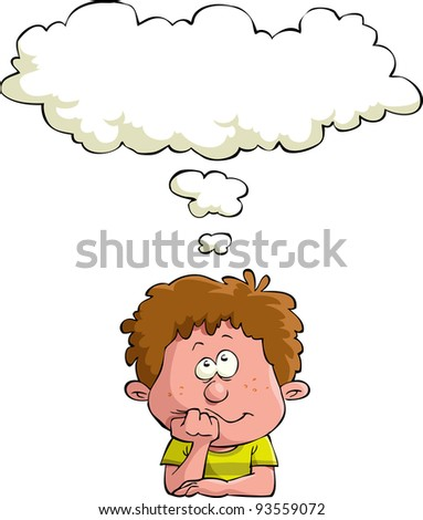 Dreaming child on a white background, vector illustration - stock vector