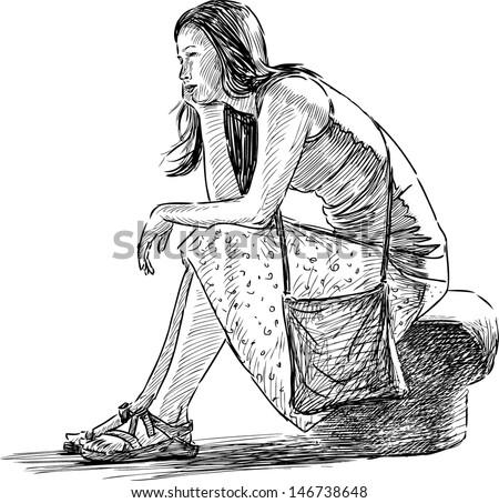 Dreaming Girl Stock Vector 146738648