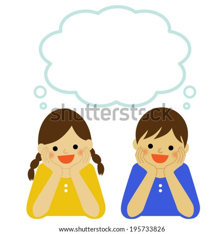 Dreaming girl and boy with thought bubble / Vector EPS 10 illustration - stock vector