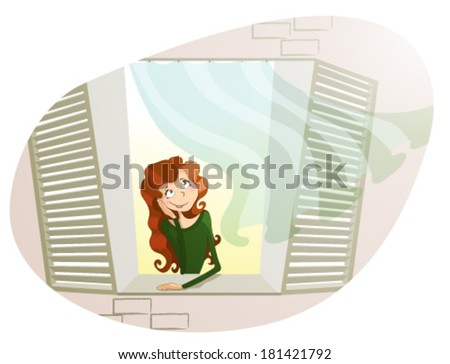 Dreaming girl at the window - stock vector