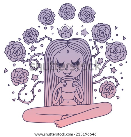 Dreaming Girl in Purple Pink Gradient - stock vector
