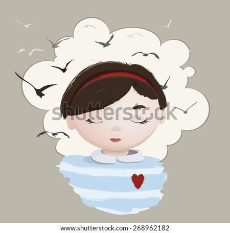 dreaming girl with closed eyes and fly birds - stock vector