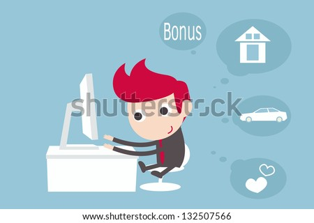 dreaming man while working at computer . - stock vector