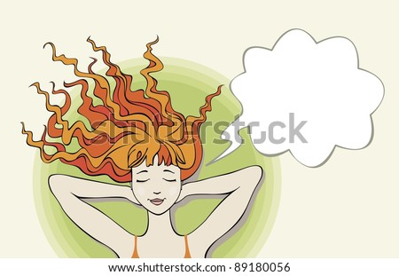 Dreaming relaxing young woman with thought bubble. Abstract illustration