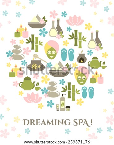 dreaming spa.  background for text  - stock vector