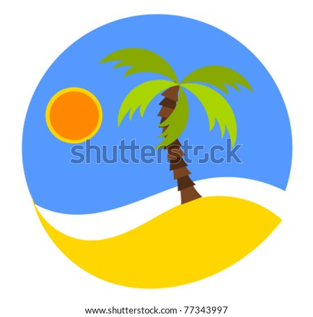 Dreaming vacation: round emblem or logo with beach and palm. Vector illustration - stock vector