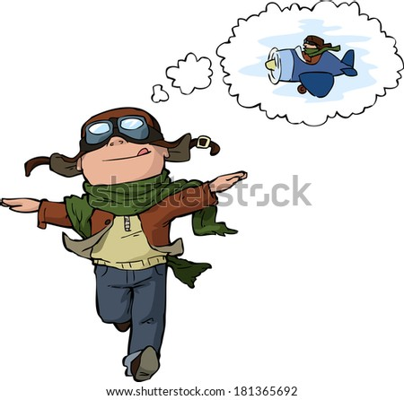 Dreaming young pilot on a white background vector illustration - stock vector