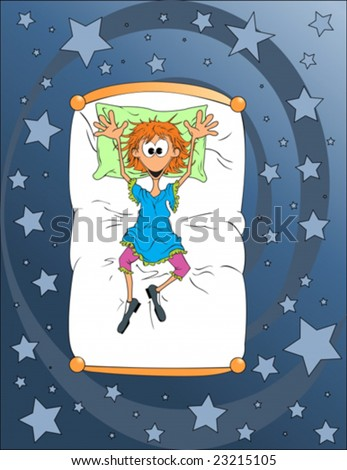 Dreams on the bed - stock vector