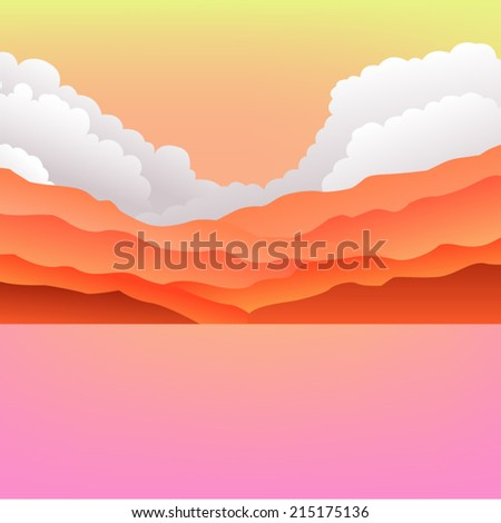 Dreamy Mountains and Sea Landscape in eps8 - stock vector