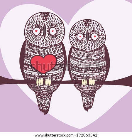 dreamy owl couple on violet - stock vector