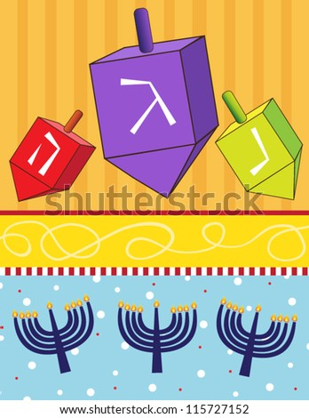 Dreidels and Menorahs vector illustration of dreidels and menorahs on a colorful background. Eps 10 fully editable. - stock vector