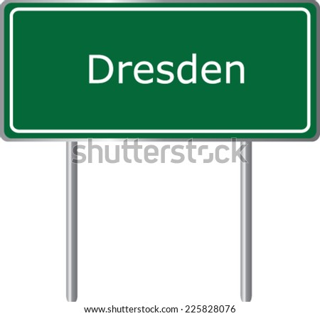 Dresden, Germany, road sign green vector illustration, road table - stock vector