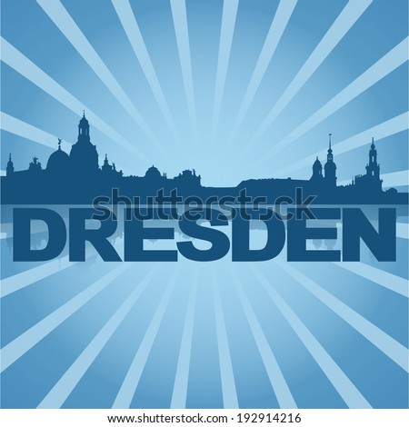 Dresden skyline reflected with blue sunburst vector illustration - stock vector