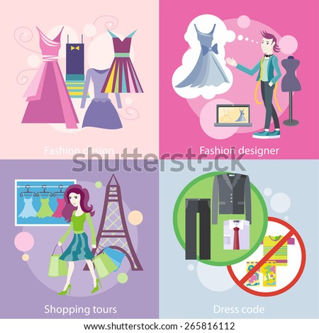 Dress code for the celebrations. Beautiful woman with a lot of shopping bags. Lifestyle shopping tours. Fashion designer working on his designs. Modern and elegant dresses for fashion design - stock vector