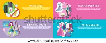 Dress code for the celebrations. Beautiful woman with a lot of shopping bags. Lifestyle shopping tours. Fashion designer working on his design. Modern and elegant dresses for fashion design on banners - stock vector