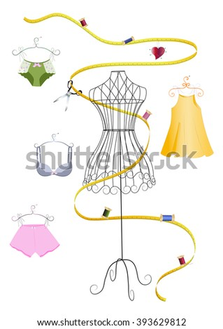 Dress form and measuring tape